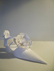 Shoe rose prototype (carolg2007) Tags: explore delicate fragile whitepaper papershoes paperconstruction paperengineer fitforaprincess paperform carolgearing paperscultpture