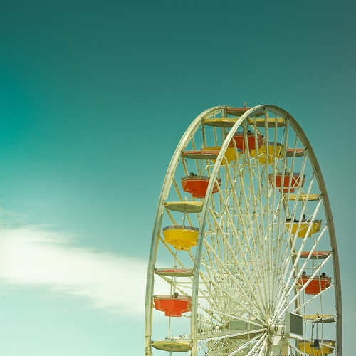 Cuba Gallery: California / Los Angeles / city / Santa Monica / color / blue / circus / ferris wheel / amazing / sky / summer / background / clouds / fun / photography