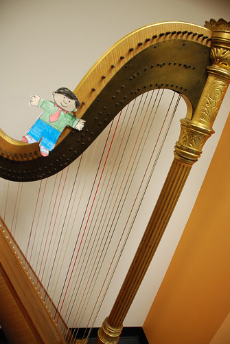 Flat Stanley on the harp