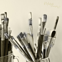 Well it is a start ... (Ingrid Douglas Images - ART in Photography) Tags: painting paintbrushes 100mmmacrolens artinthemaking acrylicbrushes texturework perfectoarts oilbrushes ingridinoz dreamcaptures monochromework artisticapplications acrylicpaintingonthego