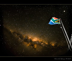 Patriotic sky... (Chantal Steyn) Tags: sky colour night dark stars southafrica nikon flag flash tripod fisheye galaxy patriot f18 30sec milkyway d300 nohdr goughisland