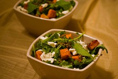 sweet potato, lentils, goat cheese, mint and arugula
