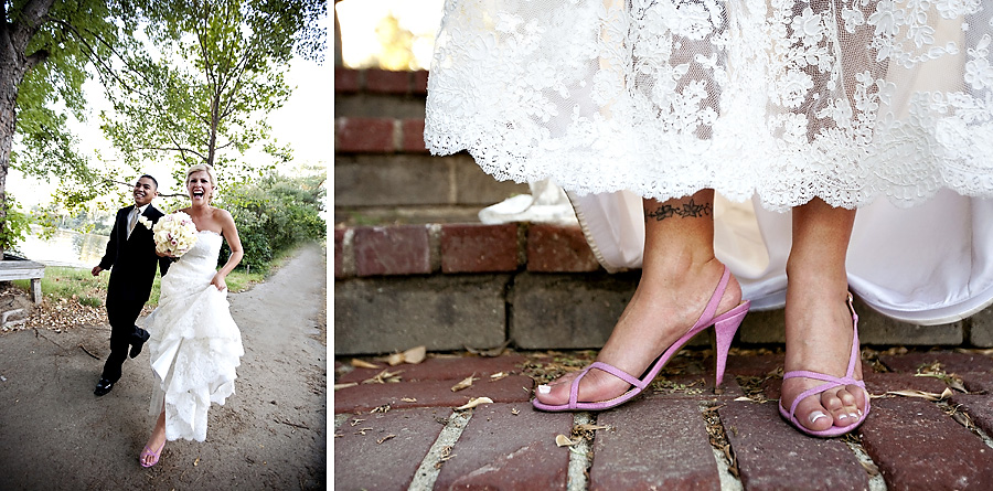Malibou Lake Mountain Club wedding picture pink high heels
