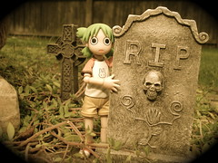 Do You Dig Graves? (Sasha's Lab) Tags: holiday cute halloween girl cemetery grave graveyard garden dead toy outdoors actionfigure death scary vines backyard dof action rip tomb manga eerie spooky kawaii figure horror iphoto ghostly tombstones koiwai fright kaiyodo theyoungones restinpeace naturallighting yotsubato yotsuba revoltech  plastic52