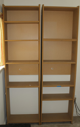 unfinished book shelves