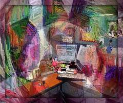Migrainian Cubicle (Joana Rojas - still here) Tags: color work computer keyboard patterns cubicle workplace aura hypothetical migraines sharingart maxfudge theawardtree altraphotografia migrainia