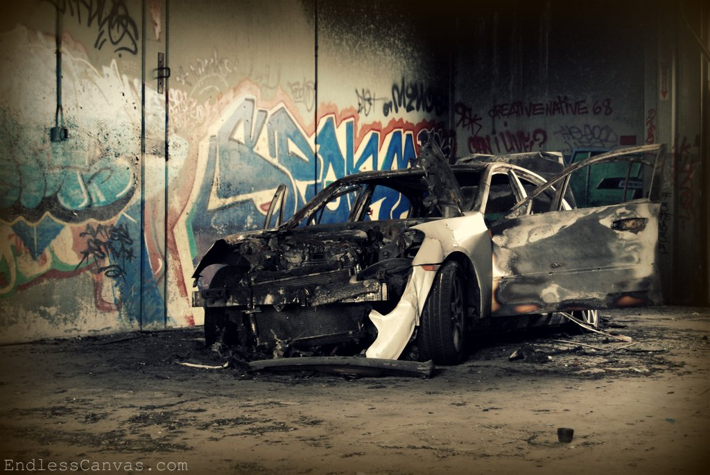 Burnt Out Car in West Oakland, CA