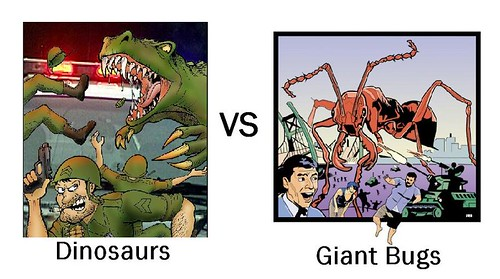 Dinosaurs vs. Giant Bugs