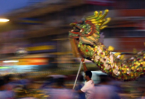 Dragon act at a street festival - Sukhothai, Thailand