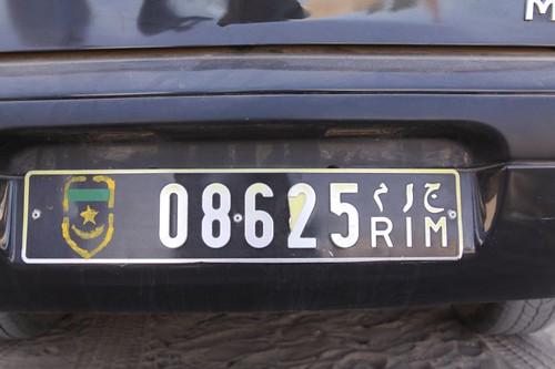 Licence plate, Mauritania.