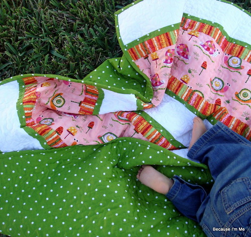 pink green orange quilt front, back, baby