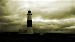 Lighthouse Portland Bill (Richard Cowdrey) Tags: sea bw lighthouse sepia clouds canon portland eos cloudscapes 400d rubyaward rubyphotographer richardcowdrey ilfilodarianna