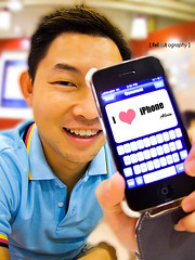 i love iphone (:x.t) Tags: guy canon asian cafe singapore cyan powershot fred s90 iphone