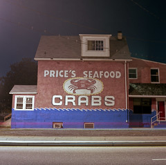 crabs (patrickjoust) Tags: park street city 2 urban usa house color 120 6x6 tlr film night analog america square lens photography us reflex md highway focus long exposure fuji mechanical metro side release tripod ad patrick twin maryland cable baltimore advertisement mat v 124g pro seafood epson medium format suburb states manual crabs 500 80 joust region yashica prices ritchie unites brookyln estados 80mm f35 fujicolor c41 unidos yashinon v500 potee 160s autaut patrickjoust
