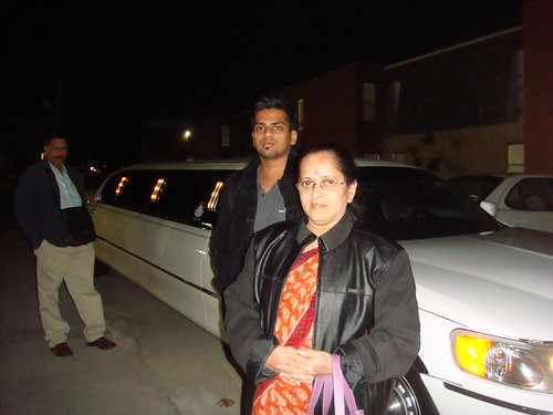 Me and mom posing with the limo