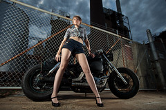 152/365 (chris_florio) Tags: street urban hot factory motorcycle 365 pinup winstonsalem triad rachelscott project365 strobist trianglestrobist triadstrobist