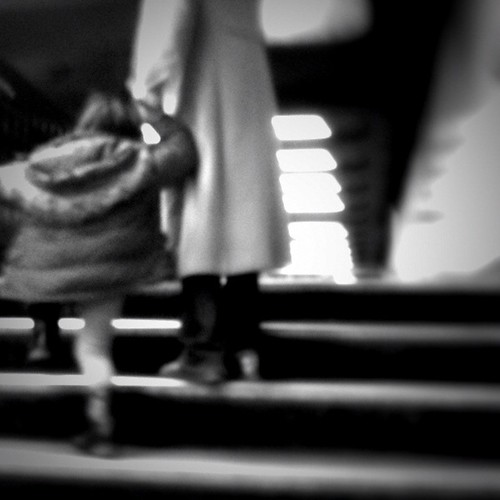 Testing Lo-mob app: Tri-Black Filter, Mother helping daughter up stairs