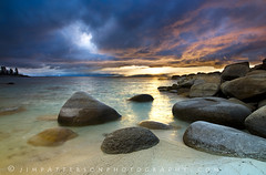 Storm Chasers - Lake Tahoe, Nevada (Jim Patterson Photography) Tags: statepark blue trees sunset sky usa sun lake storm mountains beach nature water clouds landscape photography sand rocks natural cove nevada tripod scenic rocky wideangle stormy laketahoe boulders lee polarizer sierranevada reallyrightstuff sandharbor nikkor1224mm graduatedneutraldensityfilter singhray goldnblue nikond300 jimpattersonphotography jimpattersonphotographycom goldenblog2010 seatosummitworkshops seatosummitworkshopscom