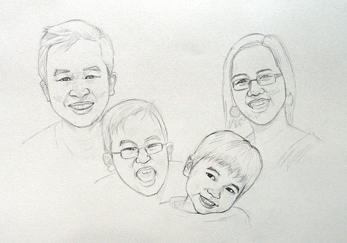 my family portraits in black & white watercolour - pencil sketch