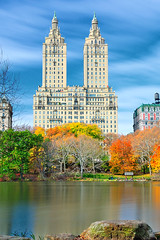 The San Remo from the Lake, Central Park, NYC (andrew c mace) Tags: newyorkcity autumn lake newyork fall centralpark manhattan foliage sanremo centralparkwest nikoncapturenx nikond90 nd400x