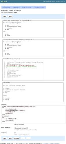 PyLucid Markup converter with verbose output