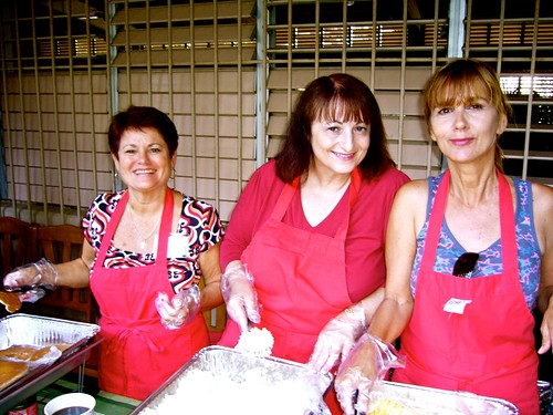 Nancy, Marcia, and Donna serving Easter Brunch