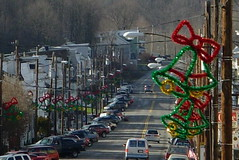 Main Street (geeezelouise) Tags: christmas street winter cars mainstreet december afternoon christmasdecorations 2009 rowhomes schuylkillcounty utilitypoles girardville geeezelouise