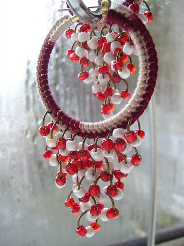 Red crocheted bohemian hoops