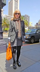 Orange Bag & Sunglasses @ Union Square (Lynn Friedman) Tags: sanfrancisco ca orange usa black leather fashion scarf bag grey shoes downtown skirt purse blond blonde geary clogs unionsquare leggings streetsandpeople lynnfriedman