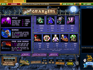 free Grave Grabbers slot game paytable