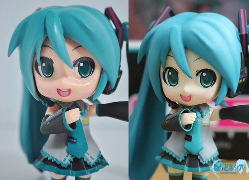 Nendoroid Hatsune Miku - bootleg (left) and genuine (right)