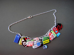 """Bing Necklace 1"" of Recycled Aluminum Cans ~ 2 of 2 photos (Urban Woodswalker) Tags: metal typography one graphicdesign words colorful graphic recycled unique ooak creative craft jewelry charm kind crayonbox bling crafty consumerism branding bing artisan mettallic aluminumcans myowndesign iconagraphy urbanwoodswalker crafting365daysayear midwesternartist maenriquez maryanneenriquez"