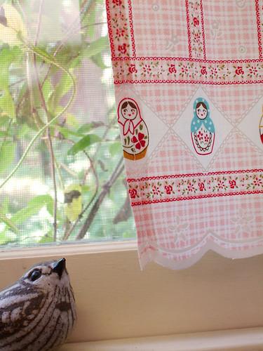 Kitchen Cafe Curtains: Detail w/bird