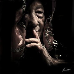 The Age of Wisdom / My 50th Upload! (Tomasito.!) Tags: old light portrait people woman art love lady scarf dark painting person artwork nikon bravo emotion grandmother philip