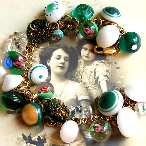 Lucky Eden, Victorian glass button gold charm bracelet.