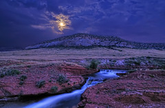 Moonshine Falls in the Laramie Foothills (Fort Photo) Tags: longexposure blue sky moon nature water night creek landscape evening waterfall nikon colorado stream smooth falls luna hills moonlit co moonlight cascade 2009 hdr afterdark silky moonshine larimer d300 catchycolorsblue laramiefoothills platinumheartaward absolutelystunningscapes