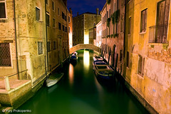 Venice by Night (-yury-) Tags: nightphotography bridge venice italy reflection water night boat canal italia venezia abigfave