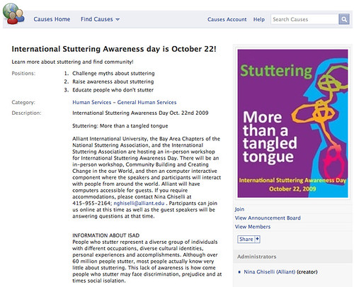 Causes on Facebook | International Stuttering Awareness day is October 22!