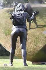 Mirror Ball (jf01350) Tags: uk people woman man west girl statue ball geotagged mirror three back kent globe hill bottom rear roundabout statues bum junction pack kings sphere backside satchel rearend pushing malling geo:lat=5127436 geo:lon=0393672