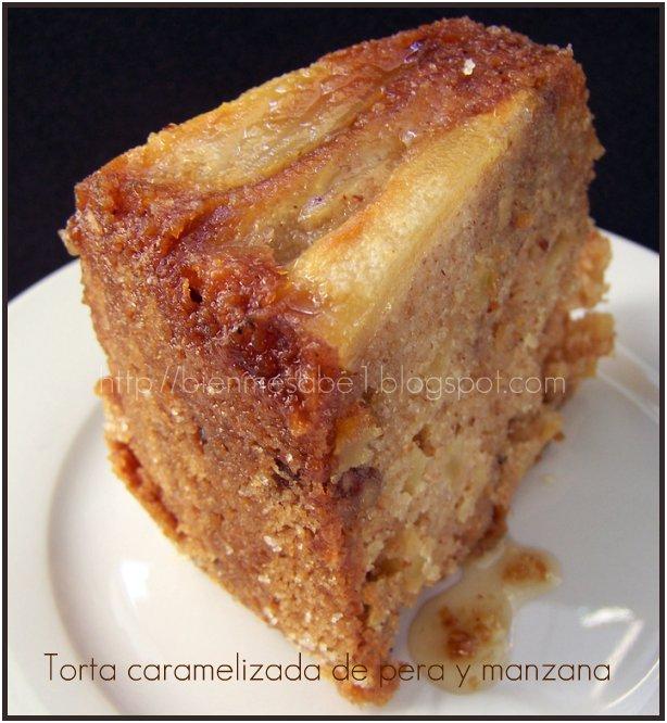 Torta caramelizada de pera y manzana
