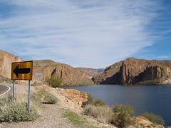 Roosevelt Lake, Arizona (divaphoenix) Tags: arizona usa lake mountains southwest water sign rocks olympus e500 olympuse500 ltytr1 olympusevolt500