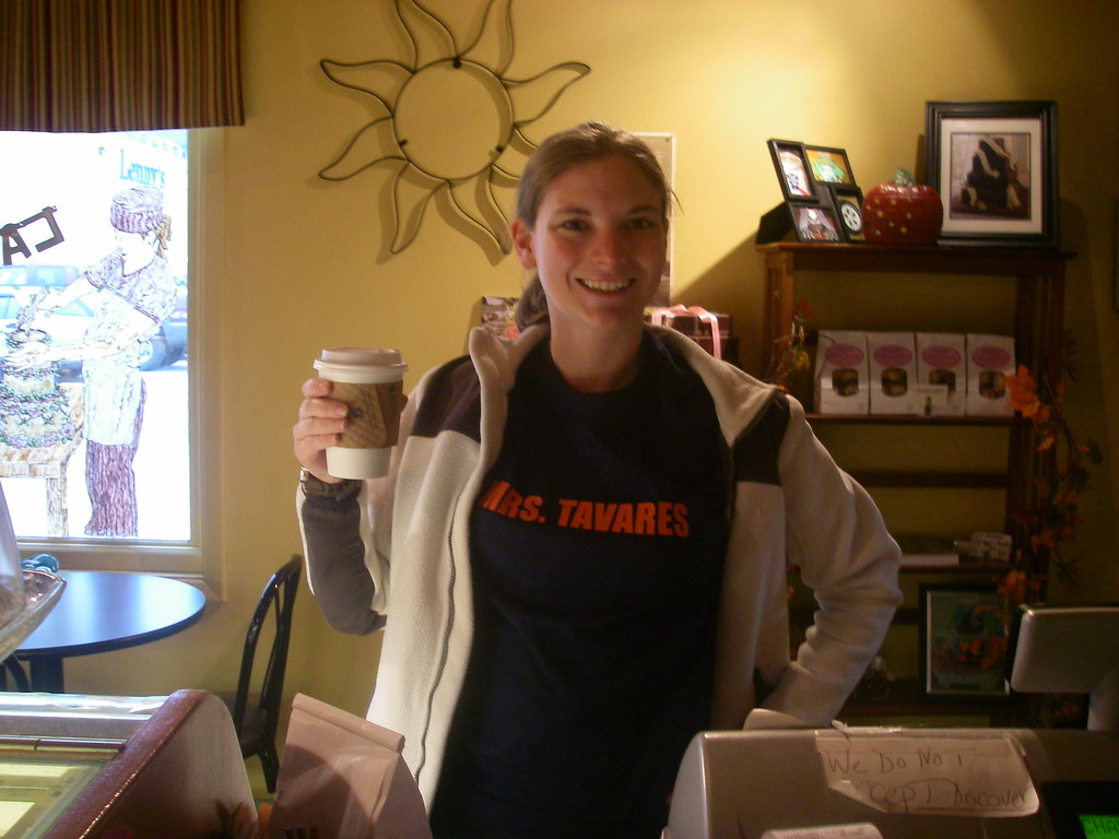 Mrs Tavres shirt in a coffee shop