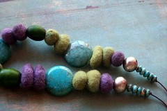 African Touch necklace n6 (fleurfatale) Tags: africa blue green wool gold moss turquoise silk olive felt tribal textile statement resin bohemian bold nieuw ethiopea purplelilac trbe meriono africanwomen textilejewellery fleurfatale textilejewlery