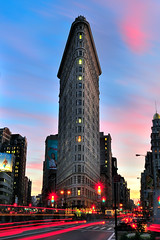 Sunset over the Flatiron Building, Manhattan, NYC (andrew c mace) Tags: park new york city nyc newyorkcity longexposure sunset building square manhattan district broadway places historic madison national register 1855mm flatironbuilding flatiron lighttrail flatirondistrict newyorkcounty nd8 nikoncapturenx nikond90