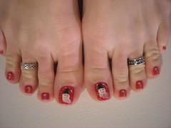 Christmas Toes - Dec. 2009 (martha.harmon) Tags: santa christmas toes toe santaclaus candycane toering nailart toerings christmastoes