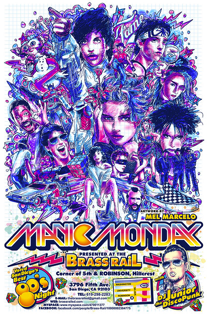 Manic Monday 80's Night Poster Flyer Art by Mel Marcelo
