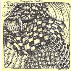 Traded--Pineapple Basket (molossus, who says Life Imitates Doodles) Tags: tile zentangle zendoodle zentangleinspiredart