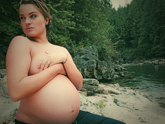 Mia (Jody Taylor) Tags: trees water 35mm britishcolumbia pregnant topless mapleridge goldcreek alouettelake coffeeshopaction olympuse620