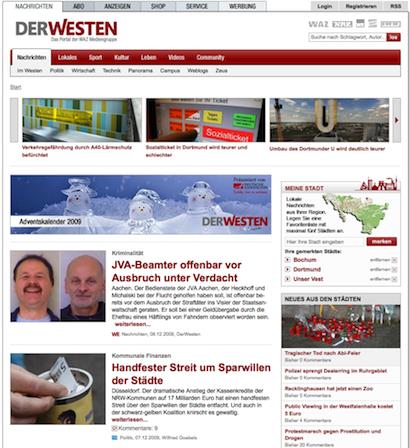 DerWesten: Startseite (08.12.2009)