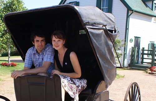 cameron Lerch and Laura-Jane Koers in Buggy at Anne of Green Gables House in PEI Canada
